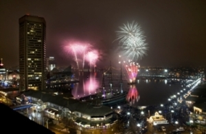 Fireworks over Baltimore Inner Harbor